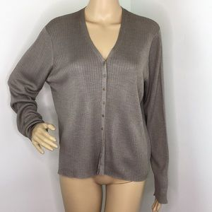 Eileen Fisher Taupe long Sleeve Button Down Blouse